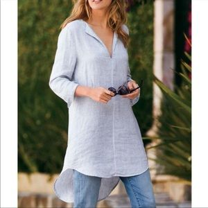 Soft Surrounding Getaway Striped Tunic Blue White Linen Size L Womens